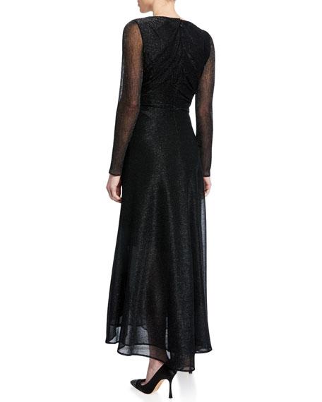 Metallic Long-Sleeve A-line Cocktail Dress
