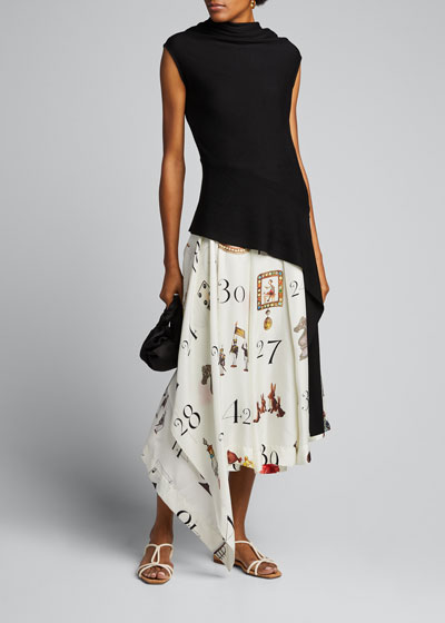Number Print Pleated-Silk Midi Skirt