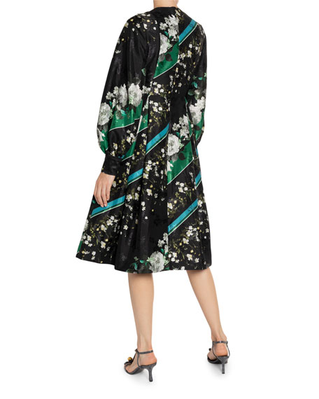 Vernia Floral & Diagonal-Striped Satin Long-Sleeve Dress