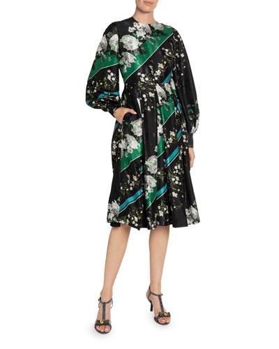 Vernia Floral & Diagonal-Striped Satin Long-Sleeve Dress