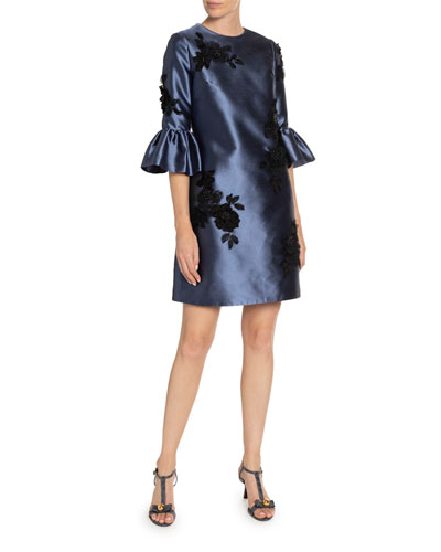Elijah Rose-Embroidered Bell-Sleeve Taffeta Dress