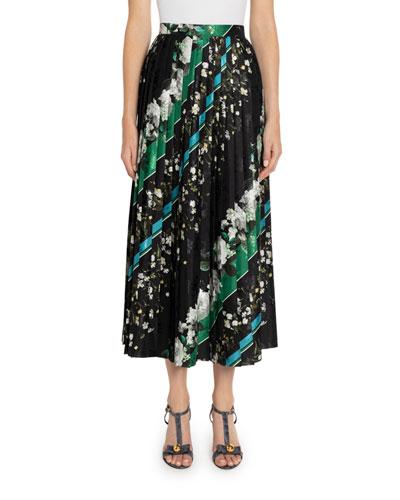 Nolana Floral & Striped Pleated Maxi Skirt