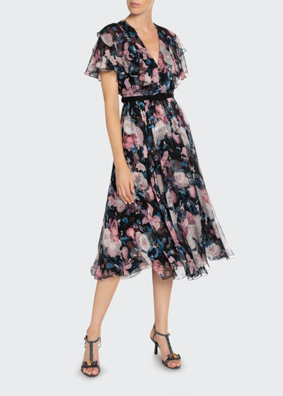 Garland Dusk Bouquet Georgette Flutter-Sleeve Dress
