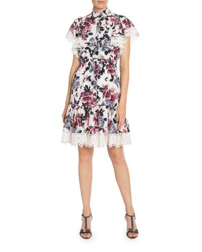 Lalique Floral-Print Poplin Lace-Trim Dress