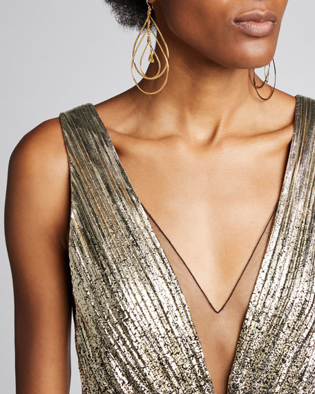 Ombre Deep-V Midi Gown