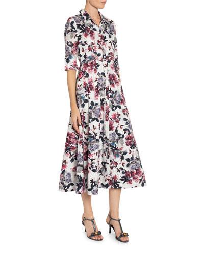 Kasia Floral-Print Poplin Midi Shirtdress