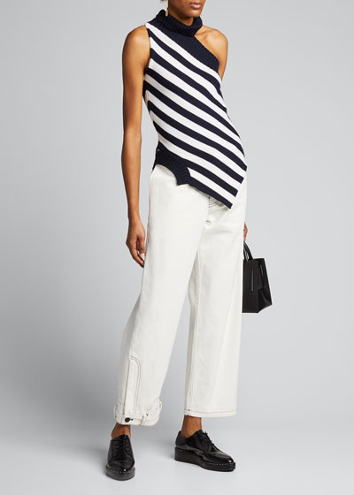 One-Shoulder Striped Asymmetric Sweater