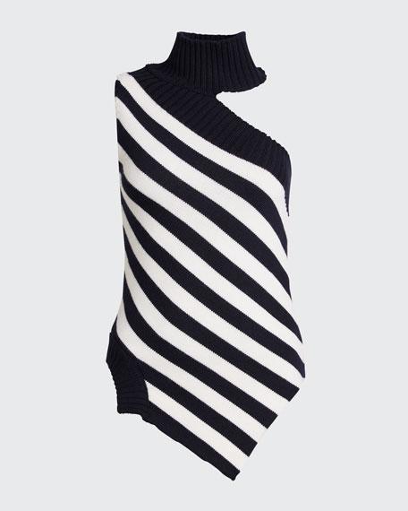 One-Shoulder Striped Asymmetric Sweater
