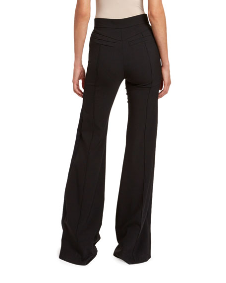 Stretch Wool Flare Pants