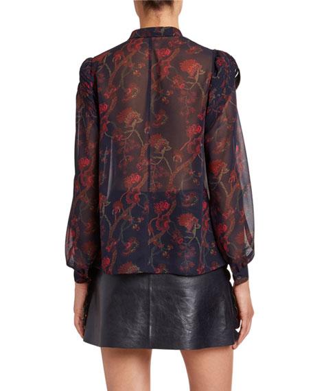 Floral-Print Silk Long-Sleeve Blouse