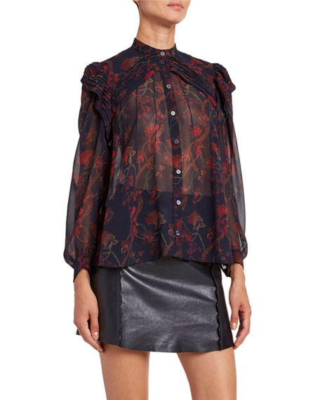 Image 1 of 1: Floral-Print Silk Long-Sleeve Blouse