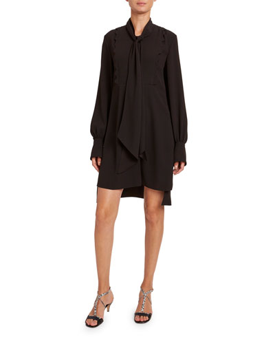 Satin-Back Crepe Short-Sleeve Dress