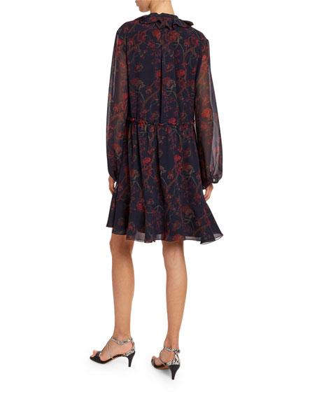 Floral-Print Silk-Georgette Tie-Neck Dress