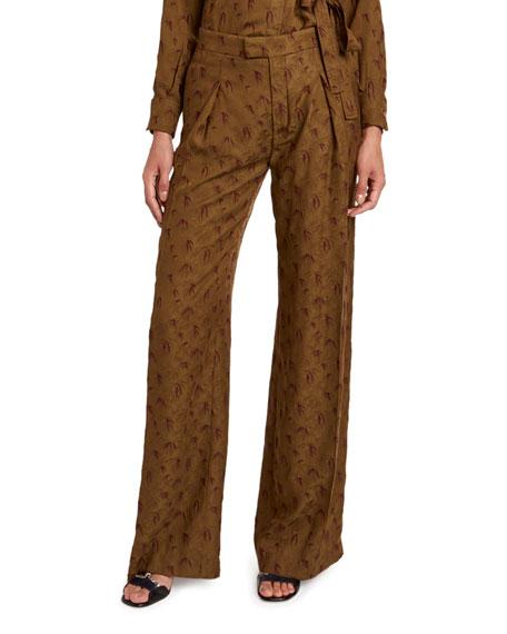 Palm Jacquard Wide-Leg Pants