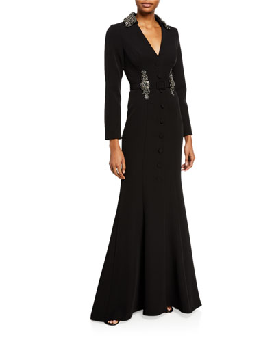 Jeweled Crepe V-Neck Shirt Gown