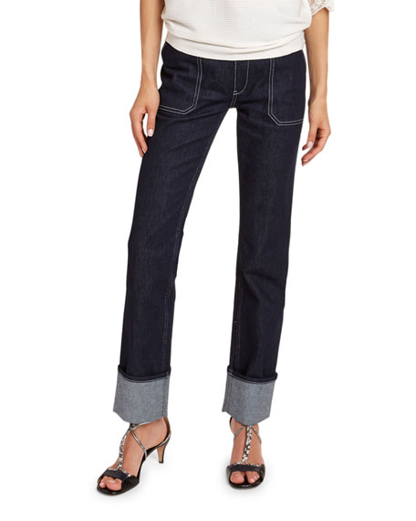 High-Rise Cuffed Jeans