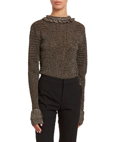Metallic-Knit Ruffled High-Neck Sweater