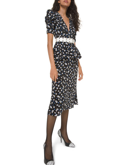 V-Neck Peplum Dress