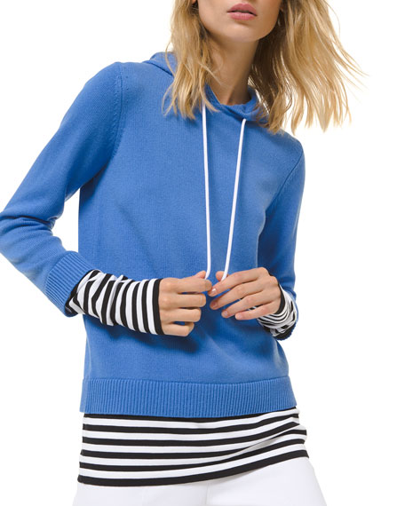 Image 1 of 1: Cashmere Layered Pullover Hoodie w/ Striped Layer