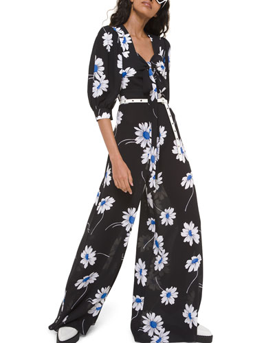 Silk Tie-Front Palazzo Jumpsuit