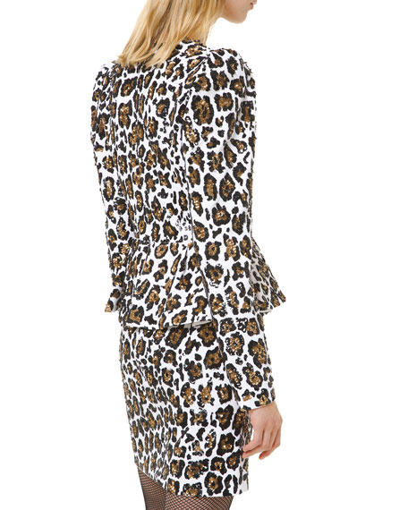 Leopard-Print Plunging-Neck Dress