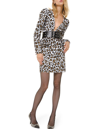 Leopard-Print Plunging-Neck Dress