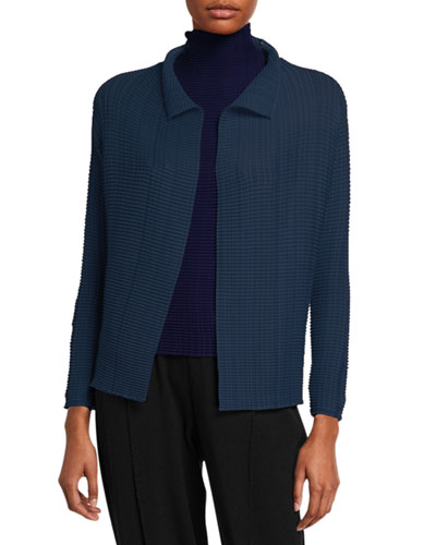 Pleated Open Front Cardigan