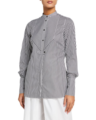 Striped Slim Tuxedo Shirt