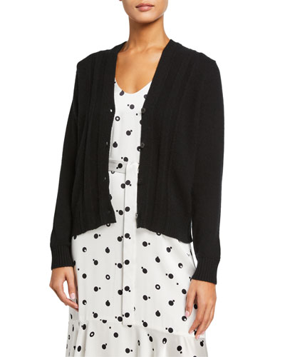 Stich-Front Button-Down Cropped Cardigan