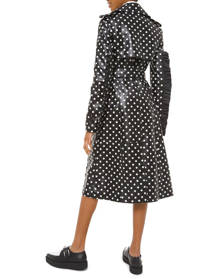 Polka-Dotted Leather Ruffle-Seam Trench Coat