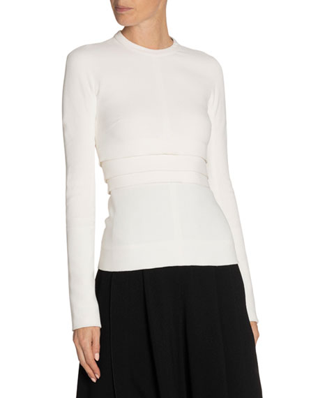 Image 1 of 1: Crepe Tiered-Waist Top