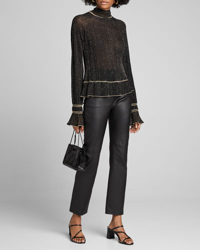 Shimmered High-Neck Sweater