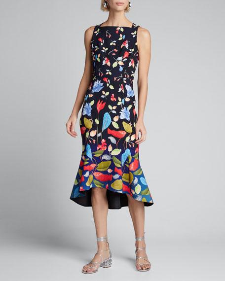 Floral Cady Asymmetric Dress