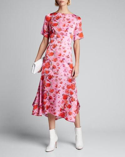Floral Drop-Waist Midi Dress