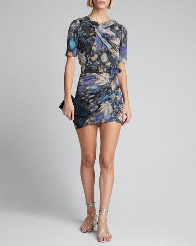 Twisted Metallic Jersey Dress