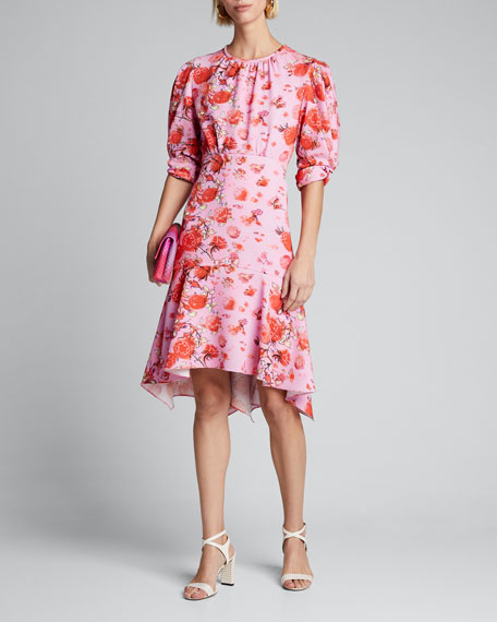 Image 1 of 1: Floral Asymmetric Dress