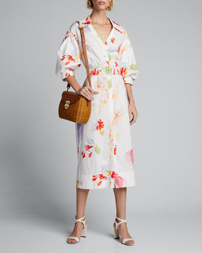 Floral Print Oversized Shirtdress