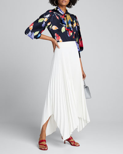 Floral Stretch Silk Tie-Neck Blouse