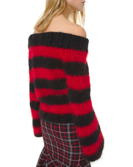 Rugby Striped Off-the-Shoulder Sweater