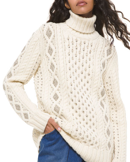 Image 1 of 1: Hand-Knit Studded Cable-Knit Sweater