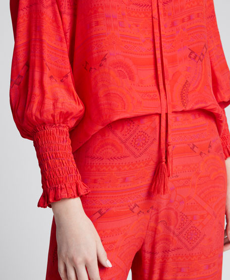 Huancayo Tonal Print Tie-Neck Blouse
