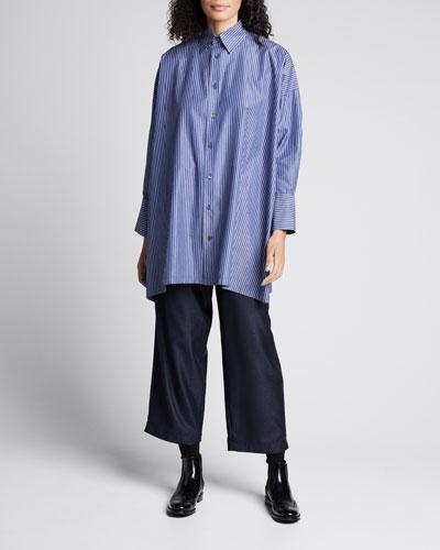Striped Button-Down Wide A-Line Shirt