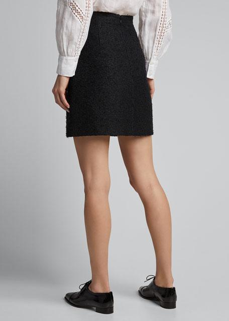 Tweed Mini Skirt, Black