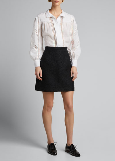 Tweed Mini Skirt  Black