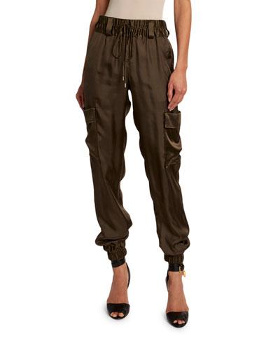 Lightweight Satin Cargo Jogger Pants