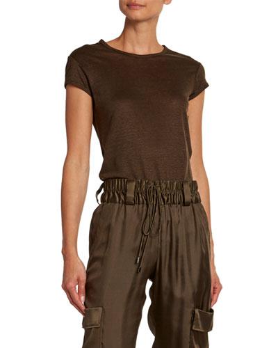 Fine-Linen Silk Crewneck T-Shirt