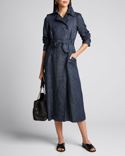 Augustin Linen Denim Belted Trench Coat