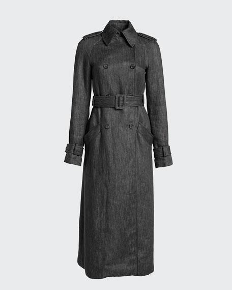 Augustin Linen Denim Belted Trench Coat