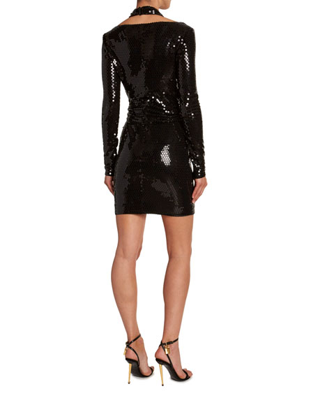 Sequined Cold-Shoulder Mini Dress