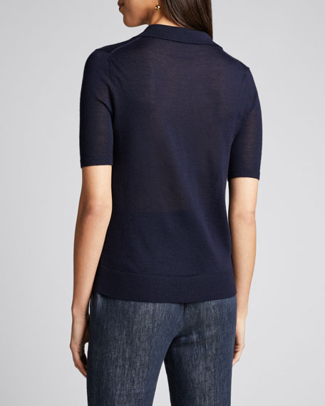 Frank Cashmere-Silk Polo Sweater